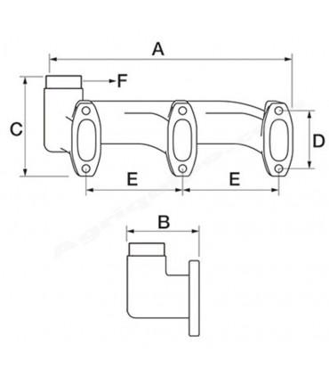 Colector escape salida superior John Deere 3 cilindros