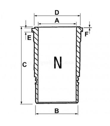 Camisa cilindro motor 98 mm John Deere gomas en camisa