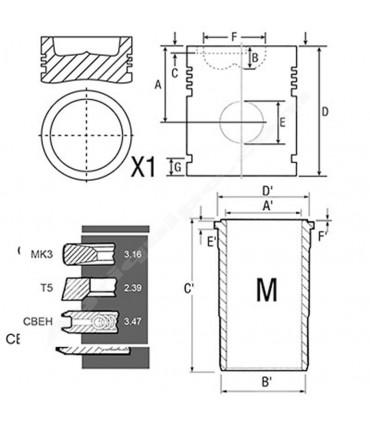 Equipo de motor John Deere 106.5/41 mm s.6030-7030