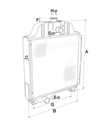 Radiador agua John Deere serie 50 para vaso expansión