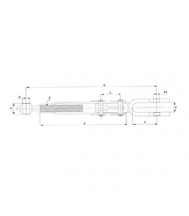 Tensor vertical ajustable horquilla-rótula (25-28 mm) M30