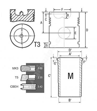Equipo de motor John Deere 106.5x218 mm B-41
