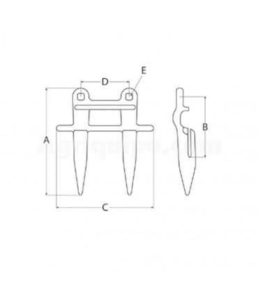Dedo doble 178 mm, 105 mm