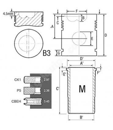 Equipo motor: Camisa, Pistón, Segmentos y Gomas