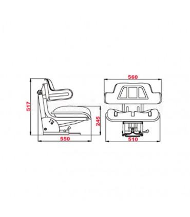 Asiento Regulable Universal Para Tractor Con Tapizado Sintético