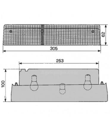 LUZ TRASERA COBO -IZQ. -CON LUZ DE MATRICULA -305 X 62 X 100MM, CASE, FIAT, FORD, MASSEY FERGUSON